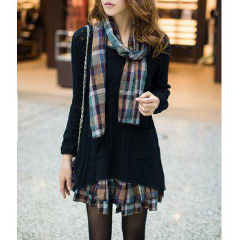 Scoop Neck Faux Twinset Hollow Out Checked Splicing Long Sleeves Sweater Dress