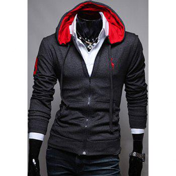 Korean Style Embroidery Deer Long Sleeves Polyester Hoodies For Men - DEEP GRAY DEEP GRAY