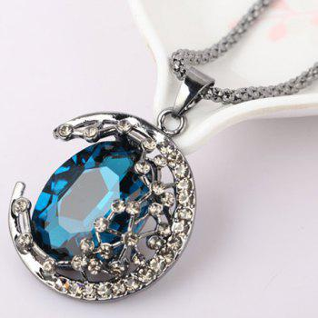 Ethnic Style Colored Faux Crystal Embellished Crescent Sweater Chain Necklace For Women