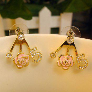 Pair of Diamante Number Rose Embellished Earrings
