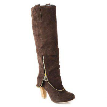 Elegant Suede and Zipper Design Knee High Boots For Women - BROWN 38