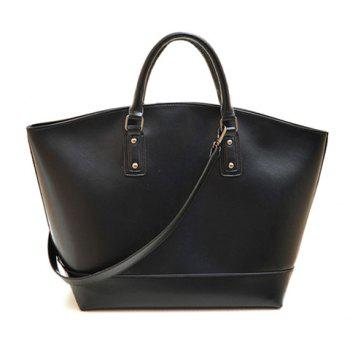 Fashion Rivets and Solid Color Design Tote Bag For Women - BLACK BLACK