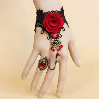 Gothic Retro Gemstone Flower Lace Bracelet With Ring For Women