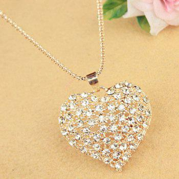 Sweet Cute Rhinestone Heart Pendant Women's Sweater Chain Necklace