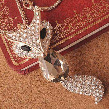 Sweet Retro Rhinestone Crystal Fox Women's Sweater Chain Necklace