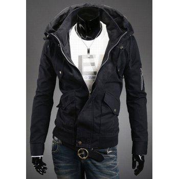Stylish Double Stand Collar Solid Color Long Sleeves Polyester Jacket For Men