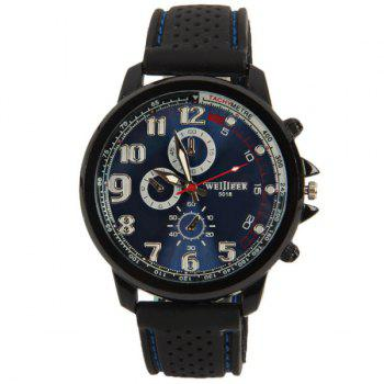 WEIJIEER Quartz Watch with 8 Numbers and Circles Indicate Rubber Watch Band for Men - BLUE