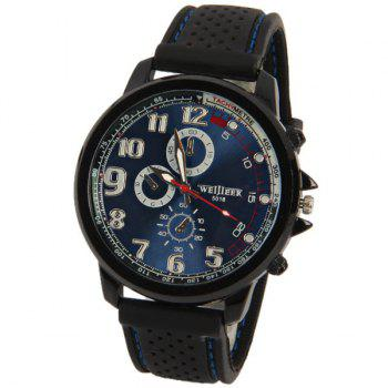 WEIJIEER Quartz Watch with 8 Numbers and Circles Indicate Rubber Watch Band for Men - BLUE BLUE