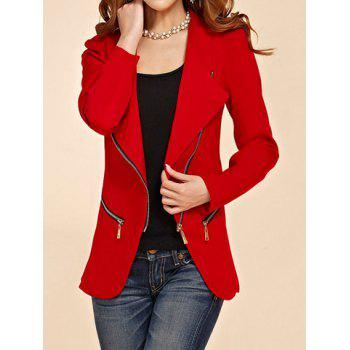 Stylish Turn-Down Collar Zip Embellished Solid Color Long Sleeve Blazer For Women