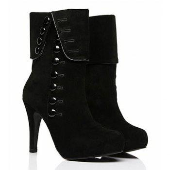 Suede Button Mid Calf Boots - BLACK 36