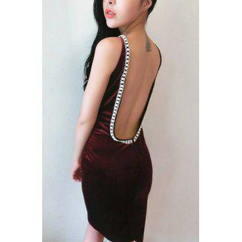Women's Pleuche Solid Color Beaded Diamante Backless Beam Waist Packet Buttock Stylish Dress - WINE RED ONE SIZE