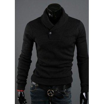 Korean Style Solid Color Polo Collar Long Sleeves Cotton Blend Sweater For Men - BLACK BLACK