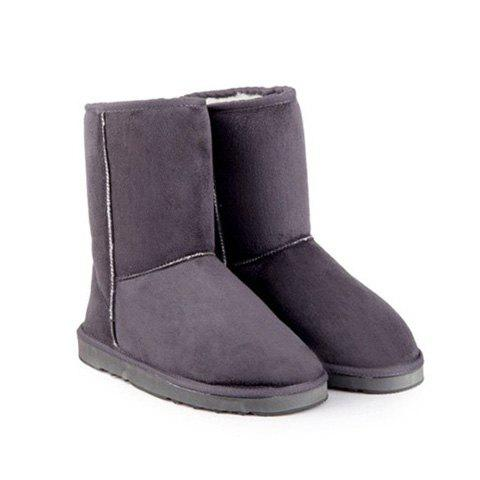Pretty Solid Color and Suede Design Snow Boots For Women - GRAY 36