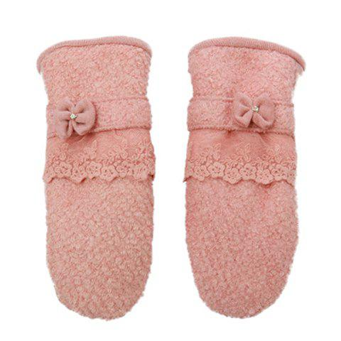 Pair of Vintage Chic Bowknot Embellished Colored Winter Gloves For Women - COLOR ASSORTED