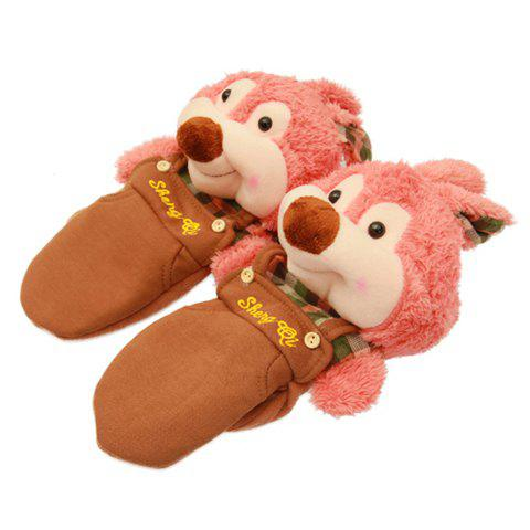 Pair of Chic Colored Stuffed Bear With Overalls Shape Winter Gloves For Women - COLOR ASSORTED