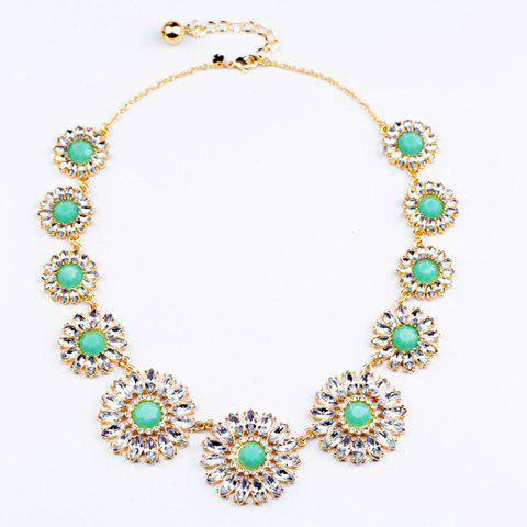 Sweet Diamante Faux Crystal Flower Embellished Necklace For Women - COLOR ASSORTED