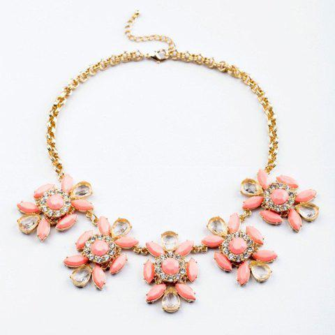 Sweet Diamante Colored Faux Gemstone Flower Embellished Necklace For Women - COLOR ASSORTED