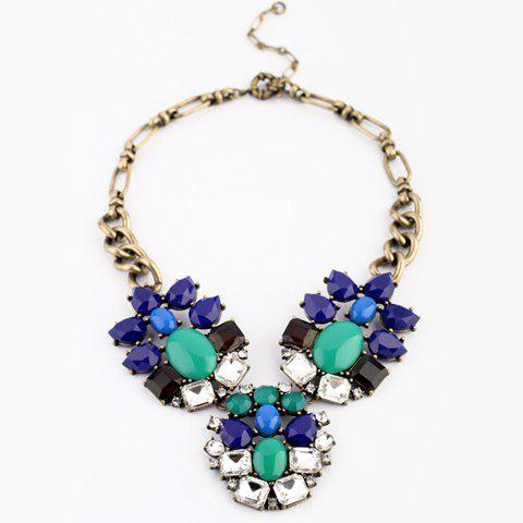 Fashion Multi-Colored Faux Gemstone Pendant Necklace For Women - AS THE PICTURE