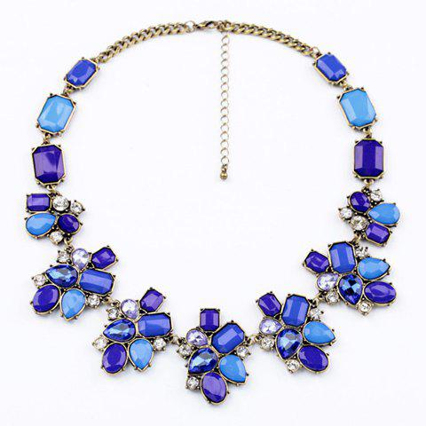 Elegant Brilliant Blue Faux Crystal et Faux Gemstone Embellished Necklace For Women - Comme Photo