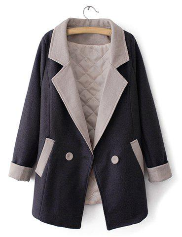 Fashionable Lapel Neck Color Matching Long Sleeve Double-Breasted Coat For Women - BLACK M