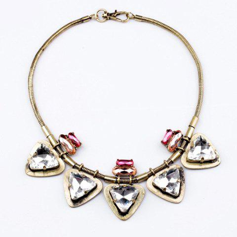 Punk Vintage Triangle Faux Crystal Pendant Alloy Necklace For Women - AS THE PICTURE