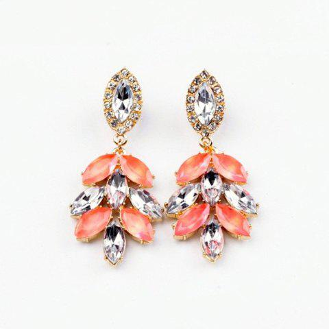 Pair of Chic Colored Faux Crystal Embellished Leaf Shape Earrings For Women - AS THE PICTURE