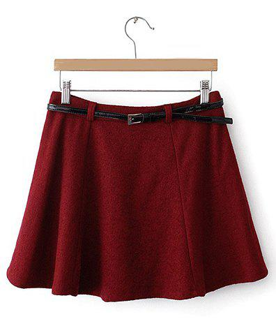 Simple Design High-Waisted Solid Color Pleated Skirt For Women - WINE RED S