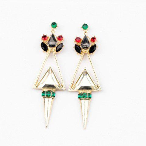 Pair of Exquisite Rivet Embellished Triangle Earrings For Women