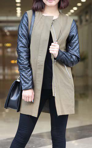 Women's PU Leather Splicing Two-Tone Zippers Long Sleeves Coat - AS THE PICTURE L