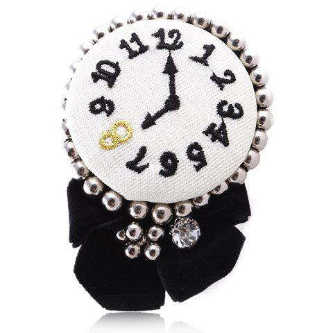 Sweet Rhinestone Decorated Clock Brooch For Women - RANDOM COLOR PATTERN