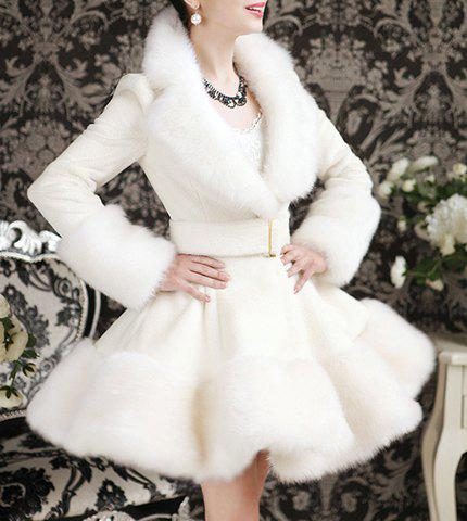 Elegant Turn-Down Collar Long Sleeve Faux Fur Embellished  White Ruffle Coat For Women - S WHITE