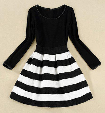 Elegant Scoop Neck Long Sleeve Color Matching Striped Dress For Women - BLACK XL