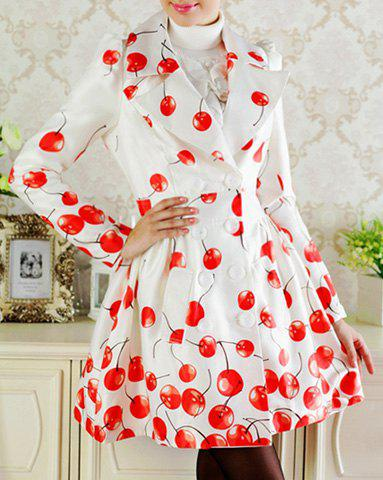 Elegant Turn-Down Collar Cherry Print Double-Breasted Long Sleeve Trench Coat For Women - AS THE PICTURE L