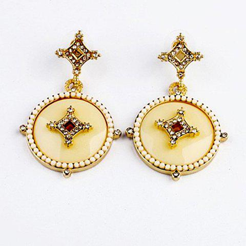 Pair of Diamante Beaded Round Pendant Earrings - AS THE PICTURE