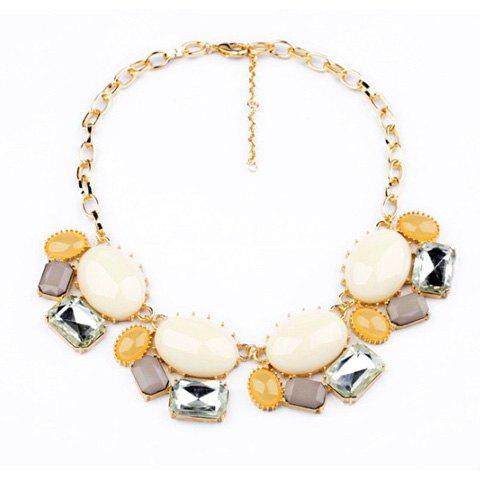 Elegant OL Style Faux Gemstone Embellished Pendant Necklace For Women - AS THE PICTURE