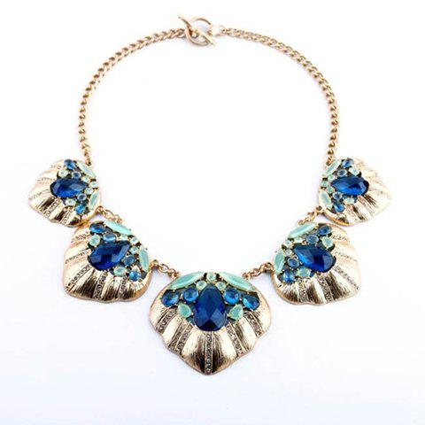 Retro Style Multi-Colored Faux Crystal Embellished Pendant Alloy Necklace For Women - AS THE PICTURE