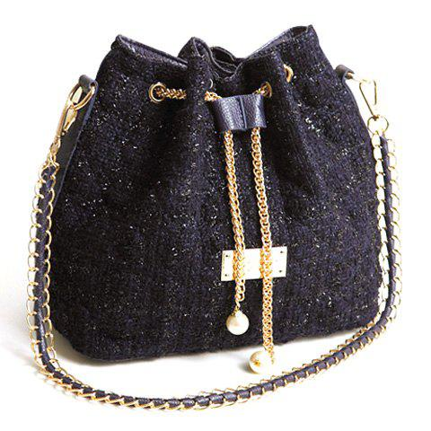 Fashion Checked and Chains Design Shoulder Bag For Women - DEEP BLUE