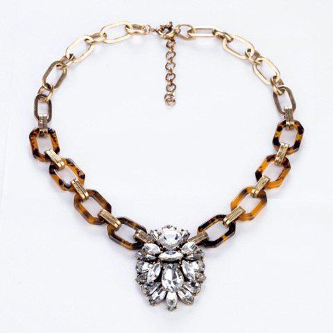 Faux Crystal Pendant Hollow Alloy Necklace