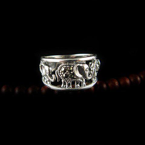 Vintage Elephant Pattern Design Openwork Alloy Ring For Women