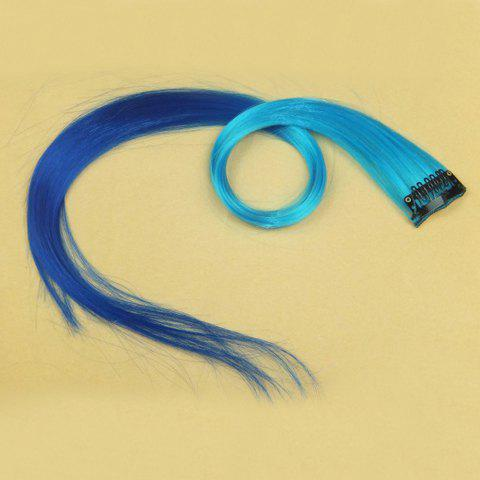 Fashionable Ombre Highlight Synthetic  Long Straight Hair Extension For Women(Light Blue + Blue) - OMBRE 2