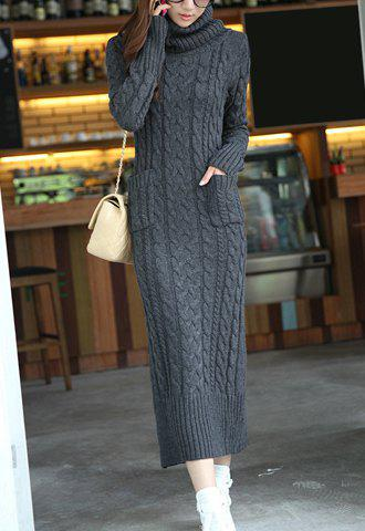 Fashionable Turtle Neck Twist Design Solid Color Jag Pockets Long Sleeves Slimming Women's Sweater Dress - DEEP GRAY M
