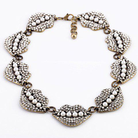 Diamante Lip Embellished Faux Pearl Necklace - AS THE PICTURE