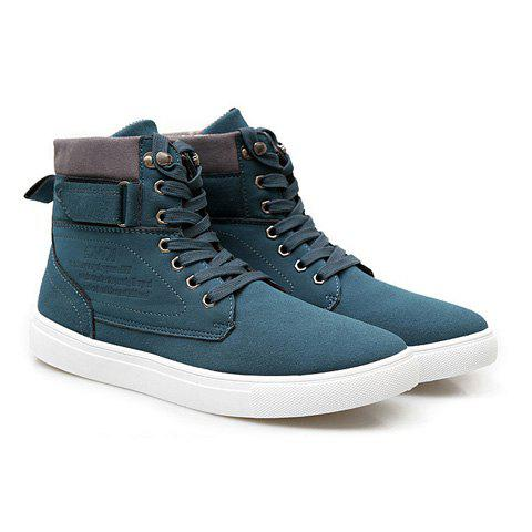 British Style Color Matching and Lace-Up Design Men's Casual Shoes - GREEN 42