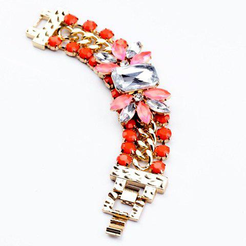 Chic Colored Faux Crystal Embellished Wide Strand Bracelet For Women