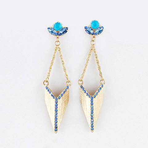 Pair Of Elegant Rhinestoned Irregular Geometric Alloy Drop Earrings - AS THE PICTURE