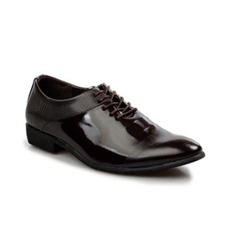 Trendy PU Leather and Solid Color Design Men's Formal Shoes - BROWN 40