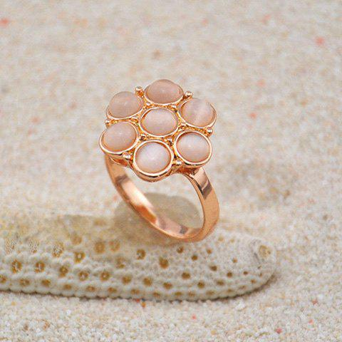 Alloy Faux Opal Flower Embellished Ring - AS THE PICTURE ONE SIZE