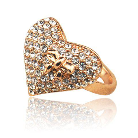 Exquisite Brilliant Fully-Jewelled Heart Embellished Alloy Ring For Women