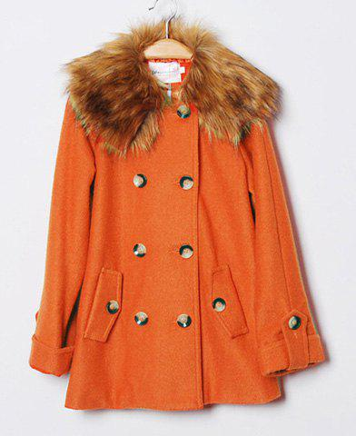 Fashion Fur Hooded Solid Color Cloak Design Double-Breasted Long Sleeves Coat - L ORANGE