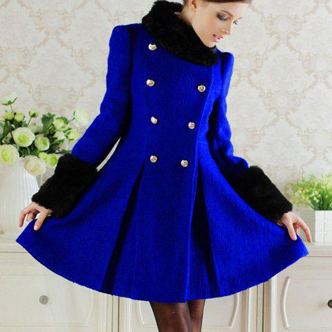 Women's Black Fur Collar Detachable Double-Breasted Waisted Pleated Long Sleeves Blended Coat - BLUE M
